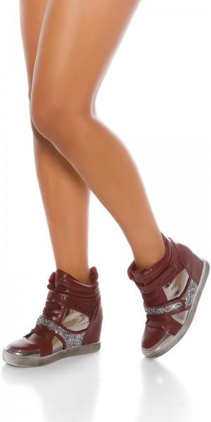 Trendy Keilabsatz Sneakers mit Glitzer