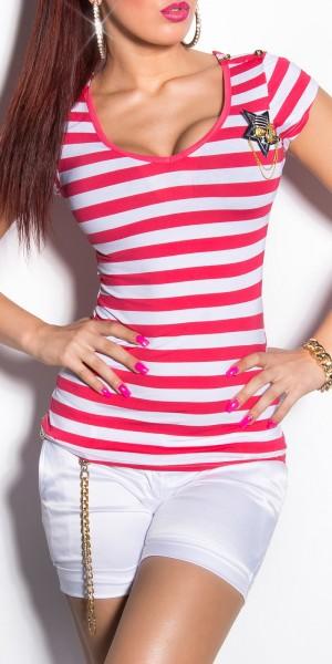Sexy KouCla T-Shirt mit Brosche und Knöpfen