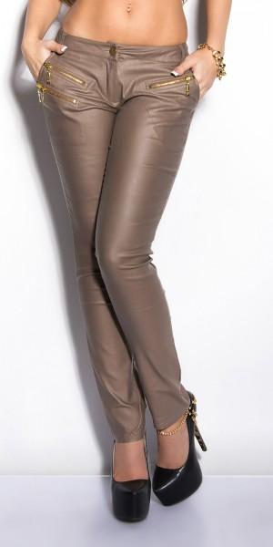 Sexy KouCla Lederlook-Hose mit Zippern