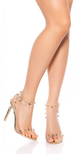 Sexy High Heel Sandaletten mit Nieten