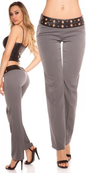 Sexy KouCla Stoffhose mit Nieten und Lederlook