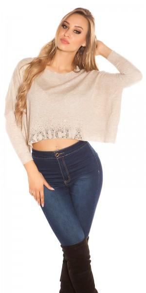 Sexy KouCla Crop Pullover mit Strass