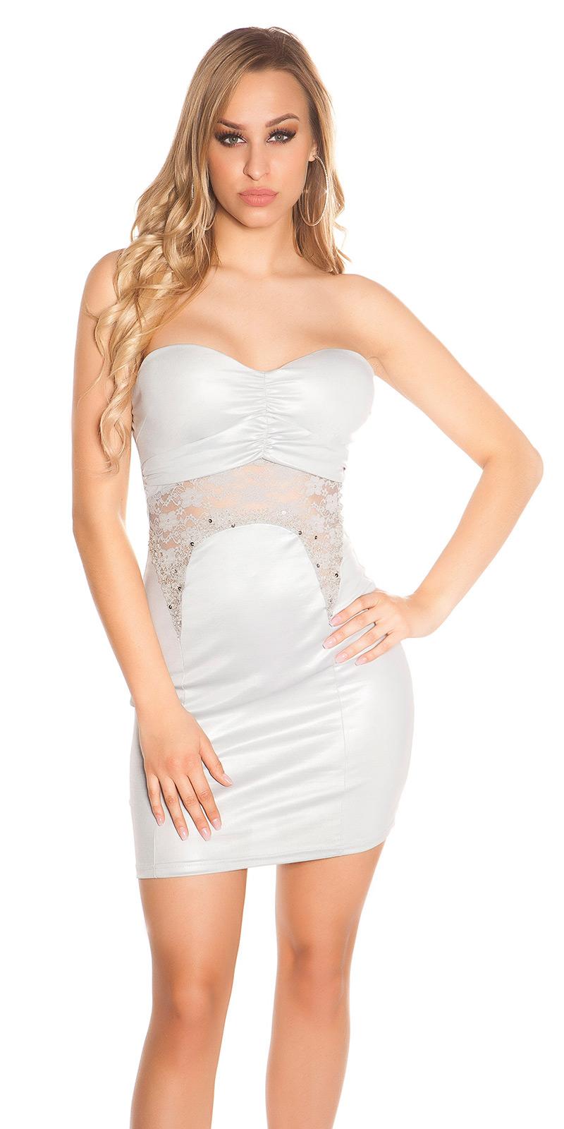 a7d41812aa1 Sexy Bandeau Party-Kleid mit Spitze und Perlen