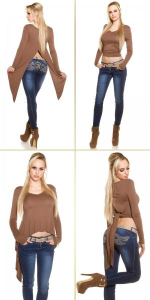 Sexy KouCla 2Way HighLow Langarm Crop Shirt