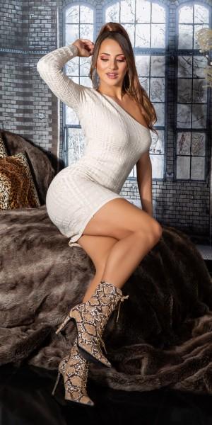 Sexy One-Shoulder Strickkleid