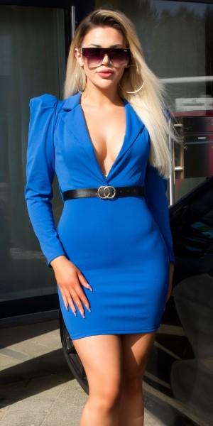 Sexy XL V-Neck Minikleid mit Gürtel