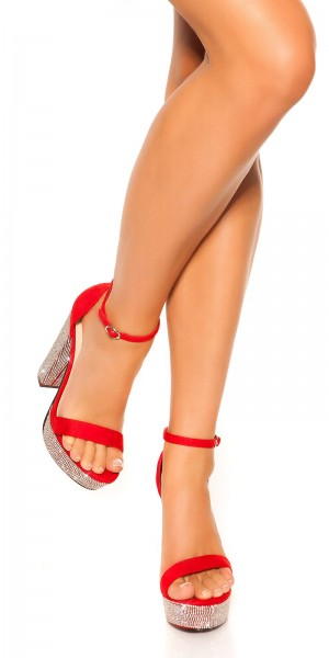 Sexy High Heel Plateau Sandalette m. Strassabsatz