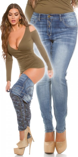 Curvy Girls! KouCla 2Way Camouflage? Blue Denim?