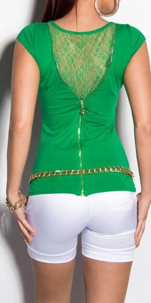 Sexy KouCla T-Shirt mit Spitze und Zipper