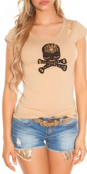 Sexy KouCla T-Shirt mit Totenkopf und Netz-Rücken
