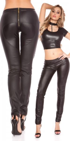 Sexy KouCla Skinny Lederlook Hose mit Zipp