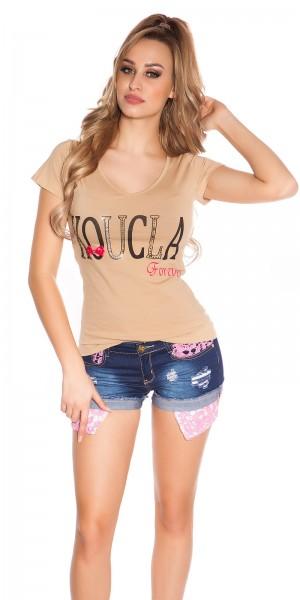 "Trendy ""KouCla Forever"" Shirt mit Spitze"