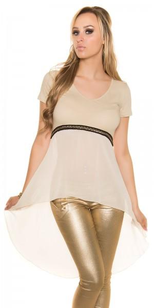 Sexy KouCla High Low Shirt mit Kette + Chiffon