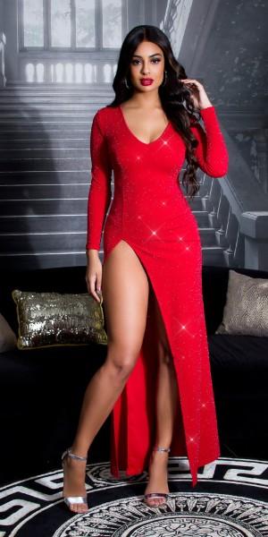 Sexy KouCla RedCarpet Glitzer Kleid m. Beinschlitz