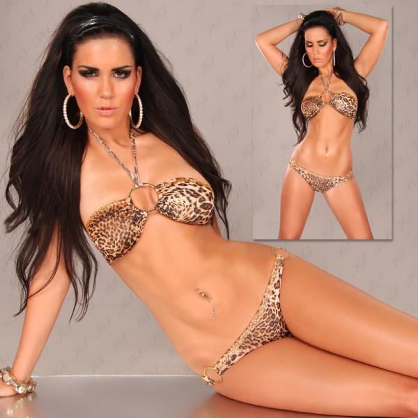 Sexy Neckholder-Bikini m. Steinen u. Ringen