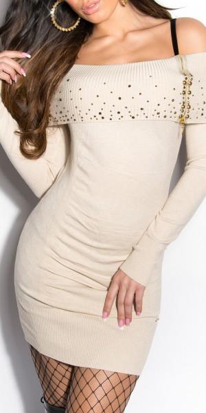 Sexy KouCla Strick-Minikleid mit Nieten und Zipper