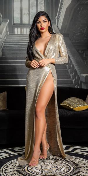 Sexy Koucla GOLDEN GIRL RedCarpet Dress XL-Schlitz
