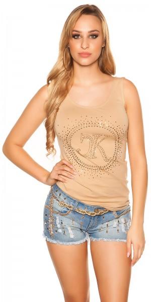 Sexy KouCla Top mit Print und Zip